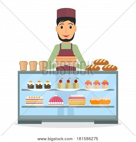 Grocery store or bakery shop male salesperson near vitrine with cakes and pastry in flat style. Smiling man bakery seller at the counter.