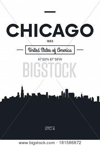 Poster city skyline Chicago, Flat style vector illustration