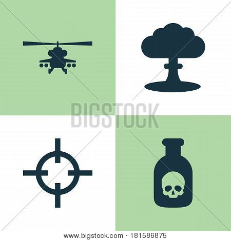 Battle Icons Set. Collection Of Atom, Chopper, Target And Other Elements. Also Includes Symbols Such As Poison, Danger, Nuclear.