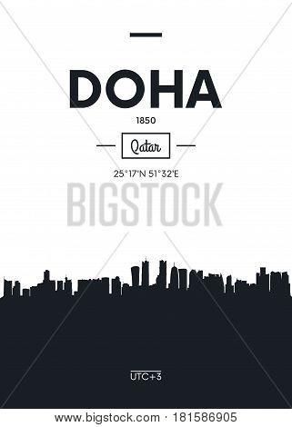 Poster city skyline Doha, Flat style vector illustration