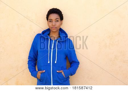 Cool Young Black Woman With Blue Sweatshirt