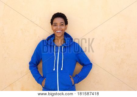 Cool Young Woman Smiling With Blue Sweatshirt