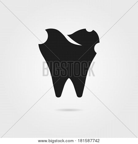 dental caries with black tooth icon. concept of dental surgery, implant protection, healthcare, toothpaste, implantation. isolated on gray background. flat style modern logo design vector illustration