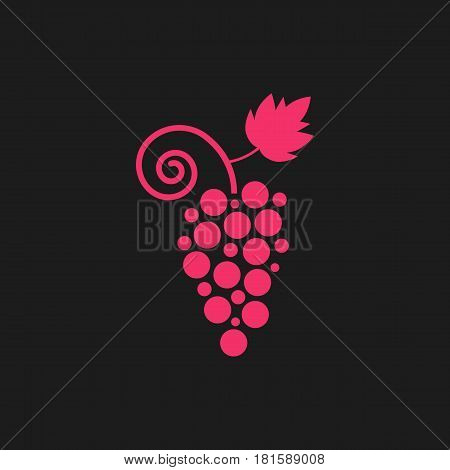 pink grape icon on black background. concept of vegetarian, organic, wine store mark, sommelier, healthy diet, grapevine, winemaking. flat style trend modern logotype design vector illustration