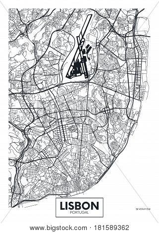 Poster map city Lisbon, Detailed vector illustration