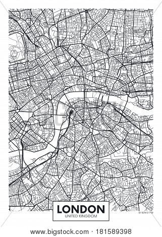 Poster map city London, Detailed vector illustration