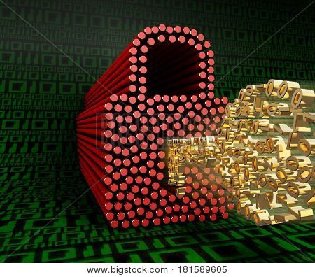 The lock and key of zeros and ones on a background of green digits zero and one. 3D illustration