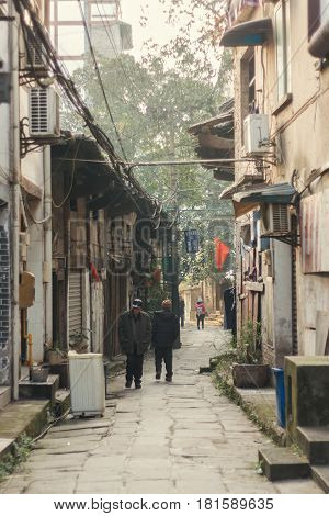 25, Dec, 2015, China, Chongqing : a traditional village and house Beside the famous travel attractions Ciqikou city of ancient and historical shophouseslocals walking throught old houses