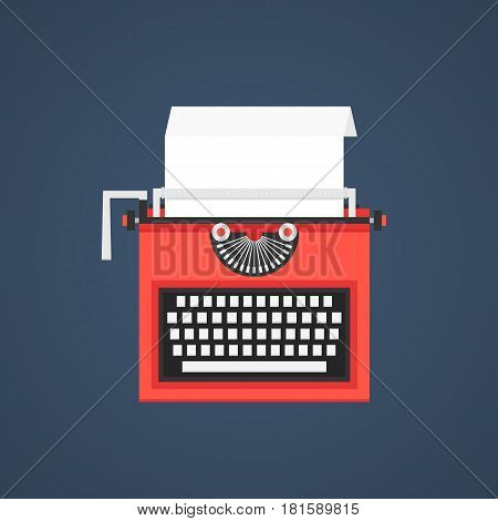 red typewriter isolated on dark blue background. concept of storytelling, scriptwriter, typing, copywriter, journalist, typewriting, announcement. flat style trend modern design vector illustration