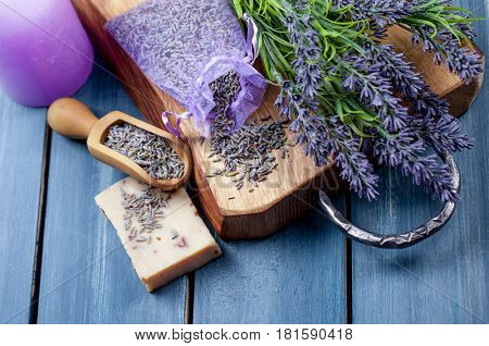 Lavender spa setting. Wellness theme with lavender products.