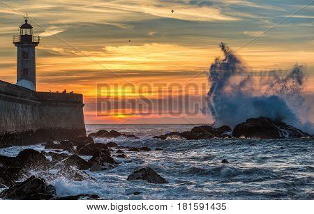Sunset seen from beach in Foz do Douro parish in Porto city Portugal