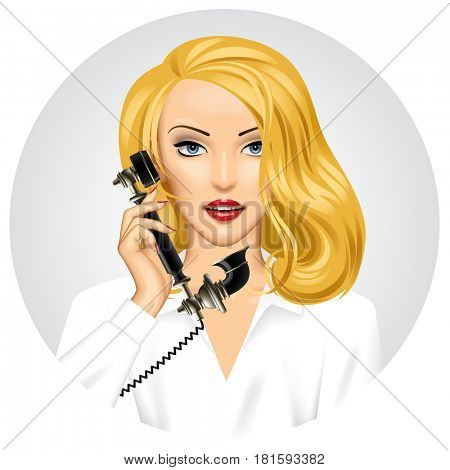 Blonde woman with retro black phone in her hand. Vintage stylized business concept