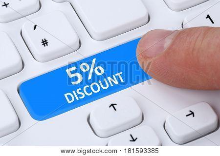 5% Five Percent Discount Button Coupon Voucher Sale Online Shopping Internet Shop