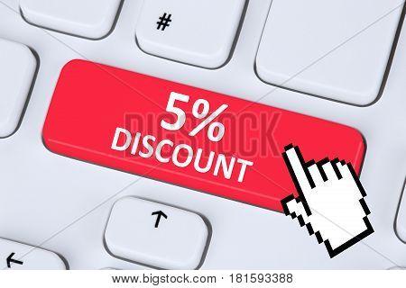 5% Five Percent Discount Button Coupon Voucher Sale Online Shopping Internet
