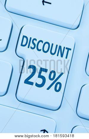 25% Twenty-five Percent Discount Button Coupon Sale Online Shopping Internet Shop