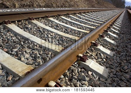 Railway, a foto with perspective close up image .