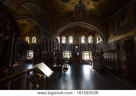 Kazan, Russia, 9 february 2017, Zilant monastery - Inside Christian Church - orthodox church at sunny day, silhouette, horizontal