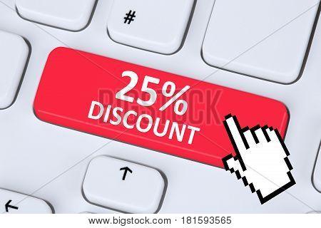 25% Twenty-five Percent Discount Button Coupon Voucher Sale Online Shopping Internet