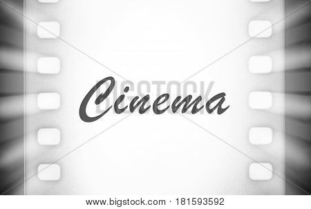 Film strips and light rays ( cinema) text close up image