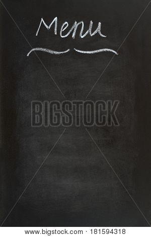 Menu` written with chalk close up image