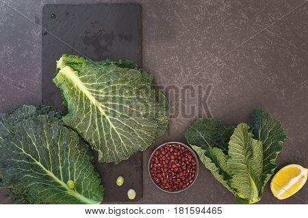 Kale and Adzuki Bean Salad, Preparing Food. Top view, blank space
