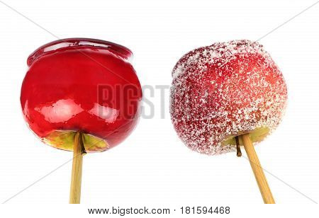 Candy apple and candy apple candied on white background