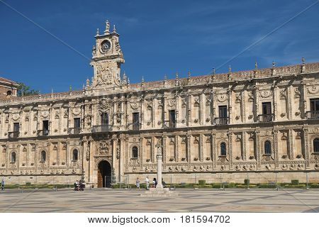 Leon (Castilla y Leon Spain): the historic San Marcos palace built in 16th century nowadays hosting the Parador