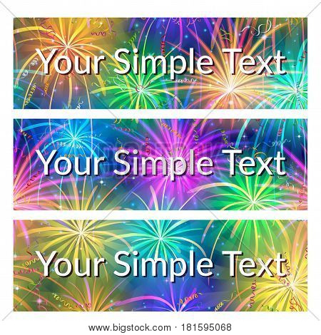 Set of Shopping Tags, Labels, Stickers or Business Cards, Backgrounds with Various Bright Colorful Celebratory Fireworks. Eps10, Contains Transparencies. Vector