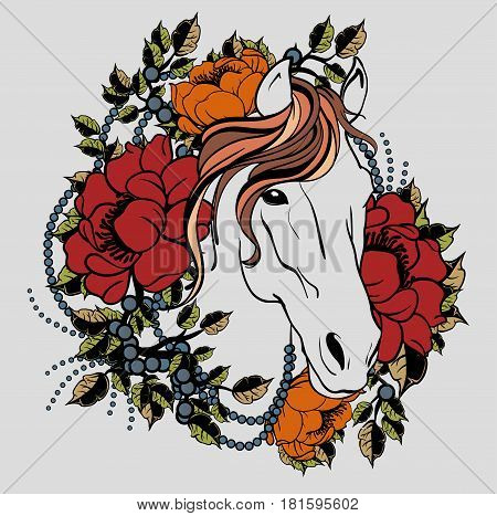 Retro horse head tattooing with flowers and leaves