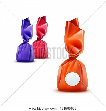 Vector Set of Realistic Chocolate Candies in Orange Pink Blue Glossy Wrapper Close up Isolated on White Background