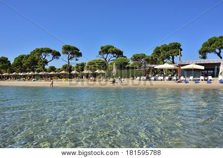Marathon Greece - Oct 01 2016: View from water on the beautiful Schinias sandy beach one from most popular beach in Attica