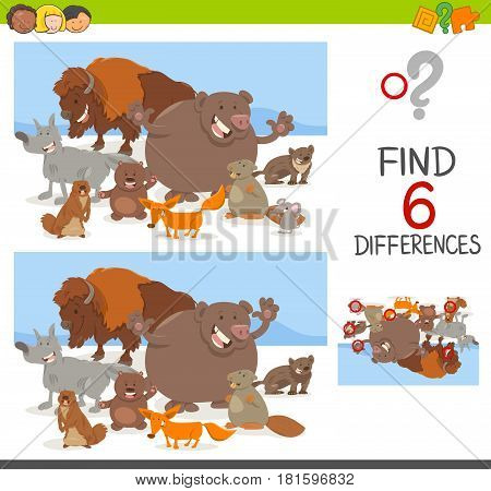 Spot Differences Game With Animals