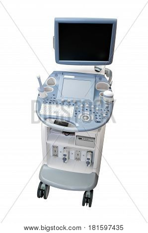 Ultrasound machine diagnostic equipment isolated on white background