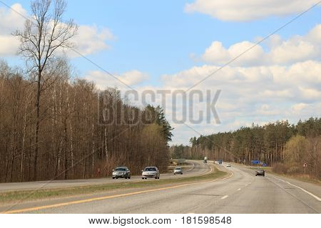 Gomel, Belarus - 8 April 2017: Traffic On The Motorway In The Daytime.