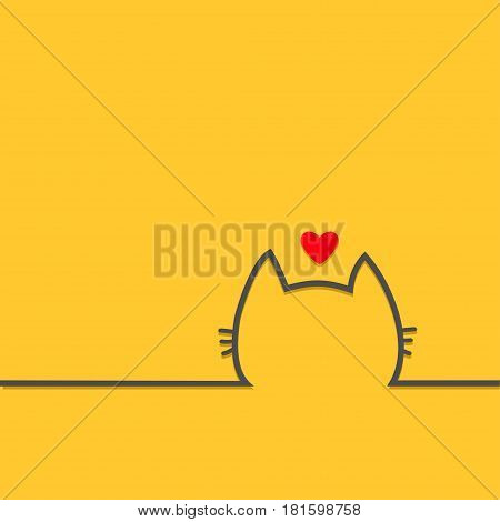 Black cat head face contour silhouette line icon. Red heart. Cute cartoon character. Kitty kitten with whisker Baby pet Yellow background. Isolated Flat design Vector illustration