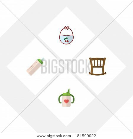 Flat Infant Set Of Infant Cot, Nursing Bottle, Pinafore And Other Vector Objects. Also Includes Nursing, Pinny, Pinafore Elements.
