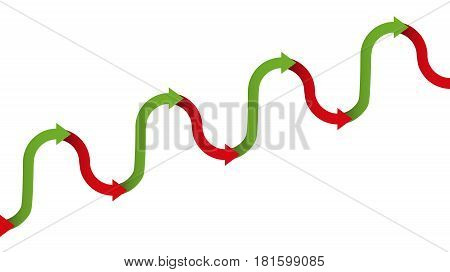 Upward trend graph - gradual increase figure for growth with temporary descending or declining phases of a development, depicted with a rhythmically ascending green and descending red arrows.