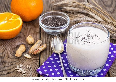 Low calorie milk fruit fresh with orange. Studio Photo