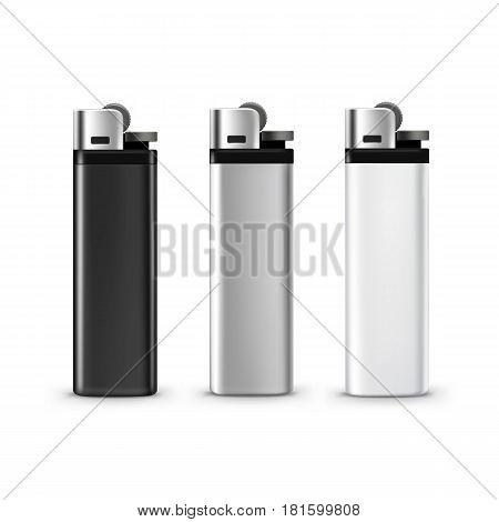 Vector Set of Blank Black White Plastic Metal Lighters Close up Isolated on White Background