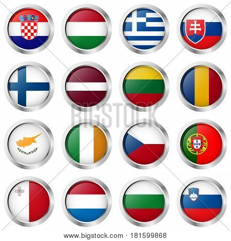Buttons With Country Flags
