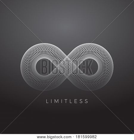 Abstract Vector Infinity Symbol Made with Circles. On Gray Gradient Background.