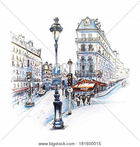 Paris street with traditional houses, cafes and lanterns, Paris, France. Picture made with markers