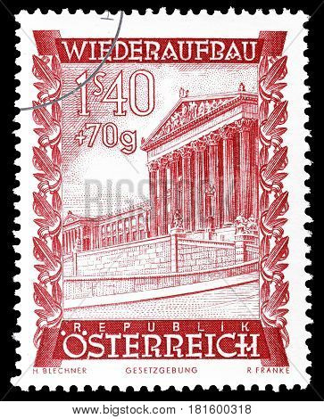 AUSTRIA - CIRCA 1948 : Cancelled postage stamp printed by Austria, that shows Parliament building.