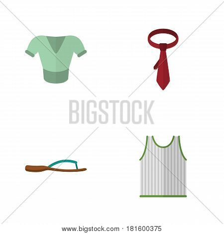 Flat Garment Set Of Cravat, Casual, Singlet And Other Vector Objects. Also Includes Flip, Necktie, Cravat Elements.