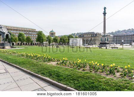 STUTTGART, GERMANY - April 12, 2017: Schlossplatz is the largest square in the center of Stuttgart, GERMANY