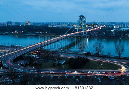Rush hour & the blue hour combined nicely during this capture of the UFO Bridge at Bratislava.