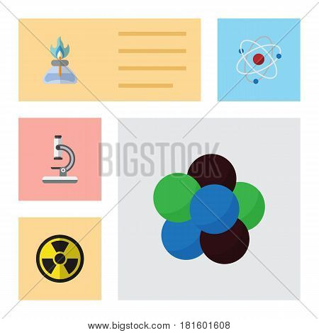 Flat Science Set Of Glass, Proton, Orbit And Other Vector Objects. Also Includes Nuclear, Optical, Molecule Elements.