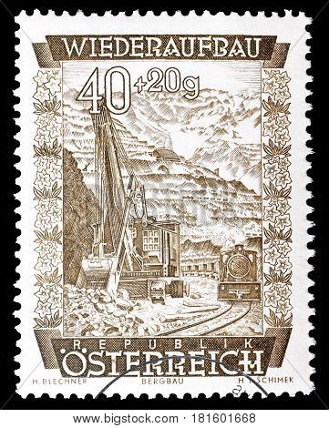 AUSTRIA - CIRCA 1948 : Cancelled postage stamp printed by Austria, that shows Erzberg.