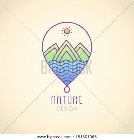 Vector logo in the form of droplets on vintage background. Linear icon of landscape - mountains, river. Business emblems, badge for a travel, ecology and climate concepts, spa, health and yoga Center.
