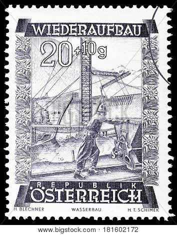 AUSTRIA - CIRCA 1948 : Cancelled postage stamp printed by Austria, that shows Vermunt reservoir.